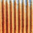 A rusty corrugated iron metal fence close up. Zinc wall — Foto Stock