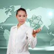 Asian business woman. Showing virtual global communication. Conc — Stock Photo