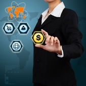 Businesswoman showing success of communication on virtual screen — Stock Photo