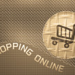 Shopping cart button metal bronze background design. — Stock Photo
