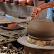 Closeup on potter mhands shaping ceramic craft, ko kret islan — Stock Photo #35897261
