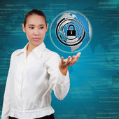 Business woman touching virtual screen of security. Concept of s — Stock Photo