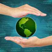 Business hand holding globe . Concept of business Information sy — Stock Photo