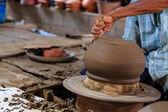Closeup on potter man hands shaping ceramic craft, ko kret islan — Stock Photo