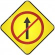 Stock Photo: No entry road sign. Damaged yellow metallic road sign with no en