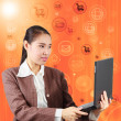 Woman with computer notebook, social network concept — Stock Photo