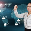 Woman writing e-Learning concept of system online on the interne — Foto Stock