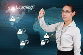 Woman writing e-Learning concept of system online on the interne — Stock Photo