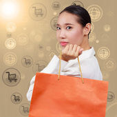 Shopping women show shopping bags. On background with symbols ne — Stock Photo
