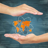 Business hand holding global . Concept of business Information s — Stock Photo