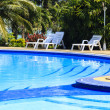 Stock Photo: Luxury swimming pool with sundeck white close up in tropical gar