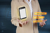 Business woman showing mobile phone. Concept of boundless commun — Stock Photo