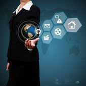 Business woman showing virtual global communication. Concept of — Stock Photo
