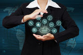 Business woman showing cloud computing. Concept of business mode — Stock Photo