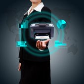 Business Woman showing printer and various graphs concept of bus — Stock Photo