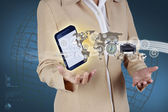 Business woman showing mobile phone and icon web symbol on hand — Stock Photo