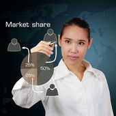 Business women writing market share concept on virtual screen. — Stock Photo