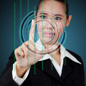 Touching a security key on virtual screen. Concept of business s — Stock Photo