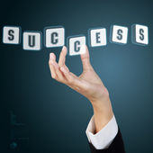 Businessman hand and word success. Concept of business success. — Photo
