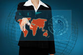 Business woman touching the world map and icon application on vi — Stockfoto