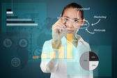 Business woman writing a business solution concept on virtual sc — Stock Photo