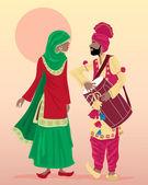 Punjabi performers — Stock Vector