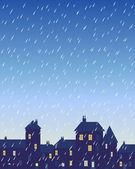 Rainy city — Stock Vector