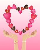 Valentine hands — Stock Vector