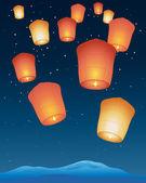 Sky lanterns — Stock Vector