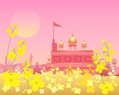 Gurdwara at sunset — Stock Vector