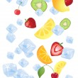 Fruit on ice — Stock Vector