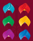 Colorful turbans — Stock Vector