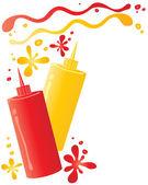 Ketchup and mustard — Stock Vector