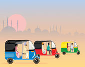 Tuk tuk traffic — Stock Vector