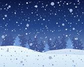 Snowy night — Stock Vector