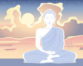 Bílé buddha — Stock vektor