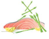 Salmon and asparagus — Stock Vector