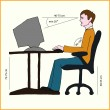 Stock Vector: Correct sitting posture