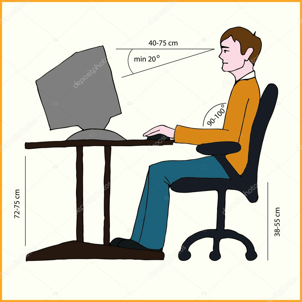 Correct Sitting Posture Stock Vector 169 Eveleen 28109555