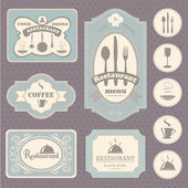 Collection of vintage, retro. coffee and restaurant labels, badges and icons — Stock Vector