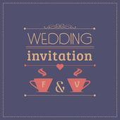 Wedding invitation, card template, couple — Stock Vector
