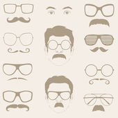Front profile faces with Mustaches, sunglasses, eyeglass — Stock Vector