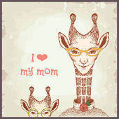 Happy mothers day cards vintage retro, giraffe — Stock Vector