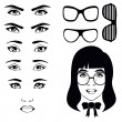 Stock Vector: Eye set, girl character
