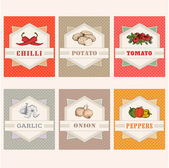 Vegetables labels, garlic, tomato, potato, onion, chilly, pepper — Stock Vector