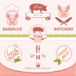 Stock Vector: Pork, pig, animal silhouette, product label packaging design