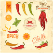 Stock Vector: Chilli, chili, pepper vegetables, product label packaging design