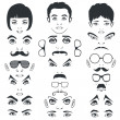 Eye mustache lips and hair, face parts, head character — Vettoriali Stock