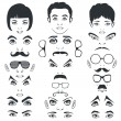 Eye mustache lips and hair, face parts, head character — 图库矢量图片
