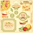 Pizza slice and ingredients background, box label packaging design — 图库矢量图片